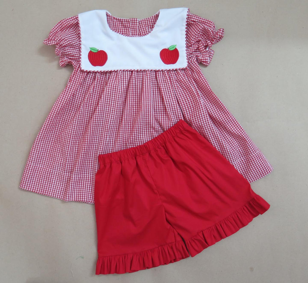 Girls Apple Bib Short Set