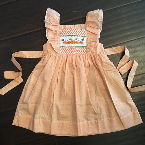 Orange Pumpkin Smocked Tie Back Dress
