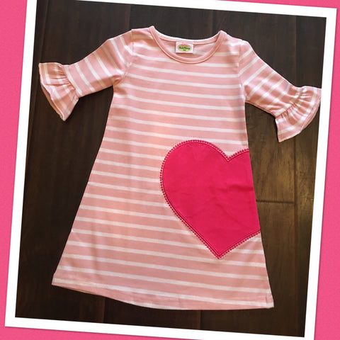 Pink Stripe Heart Knit Dress