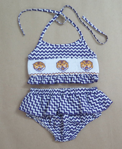 Tiger -Purple Chevron Two Piece Swim Suit - PRESALE SHIPS BEGINNING OF MAY