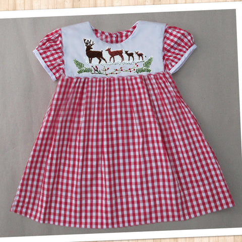 Deer Following Red Check Dress - PRE SALE SHIP BY BEGINNING OF NOVEMBER