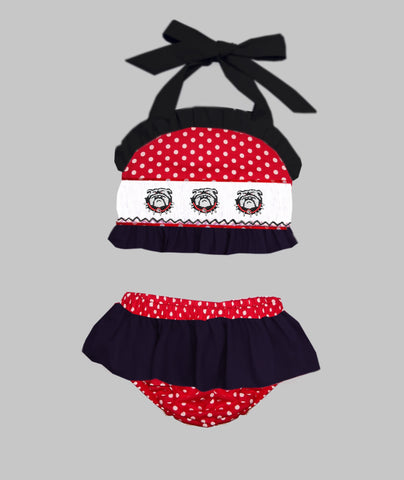 Red Dot and Black Bulldog Two PIece Swim Suit