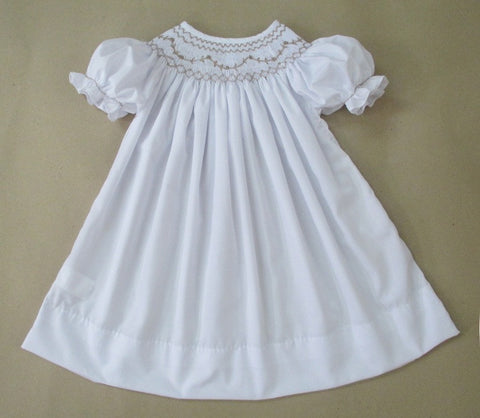 White Smocked Bishop with Tan Accents