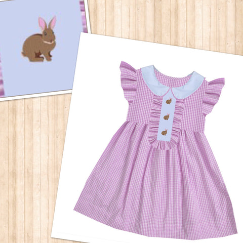 Bunny Pink Check Ruffle Front Dress