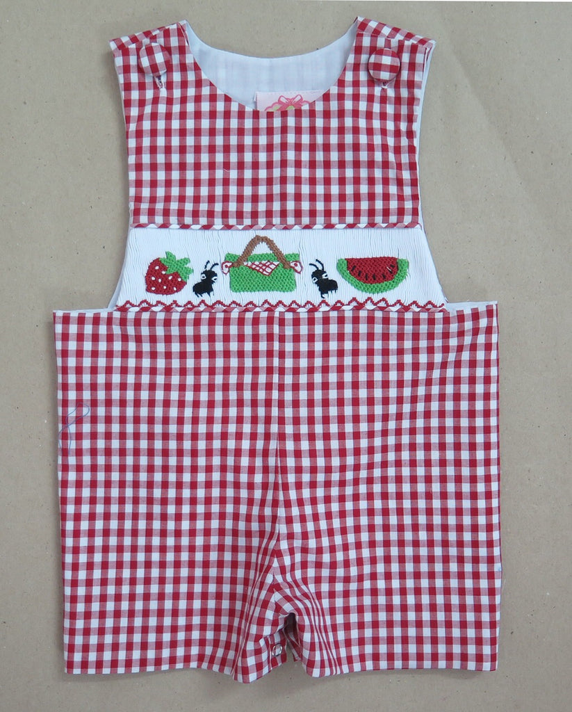 Picnic Check Smocked Shortall
