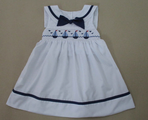 Smocked Sailboat White Dress
