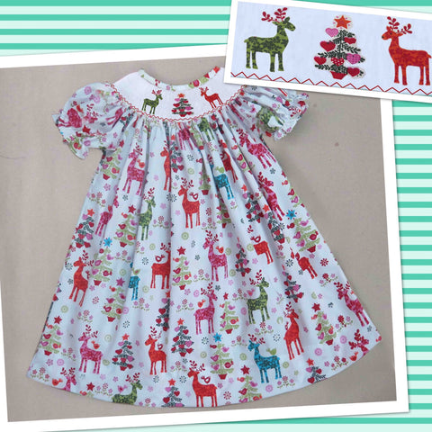 Deer and Tree Smocked Dress - PRE SALE SHIP BY BEGINNING OF NOVEMBER