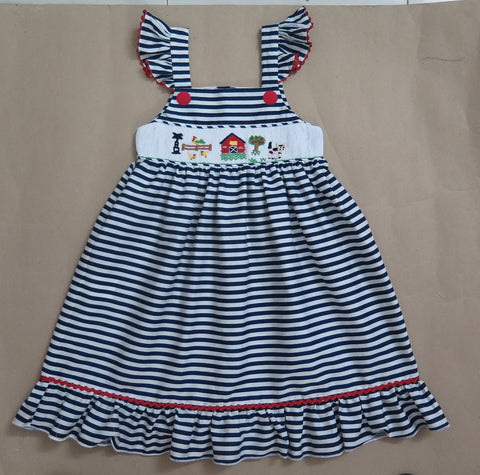 Navy Sleeveless Summer Farm Smocked Dress