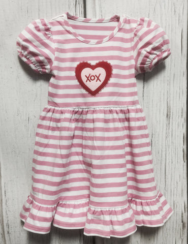 Pink Stripe xox Heart Applique Dress