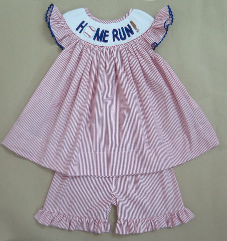 Homerun Smocked Seersucker Short Set