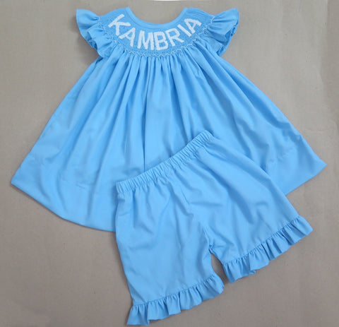 BLUE WITH WHITE LETTERS PERSONALIZED SHORT SET - PRESALE - ALLOW 14 WEEKS