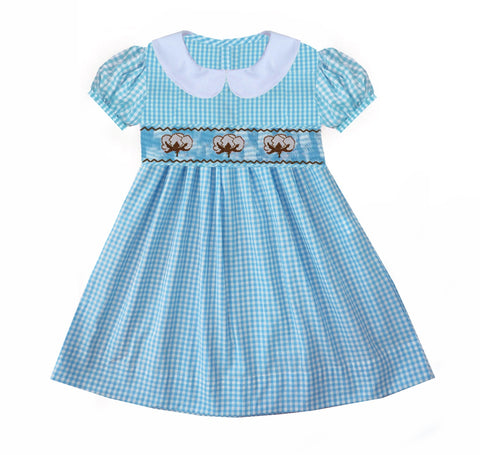Cotton Boll Smocked Dress