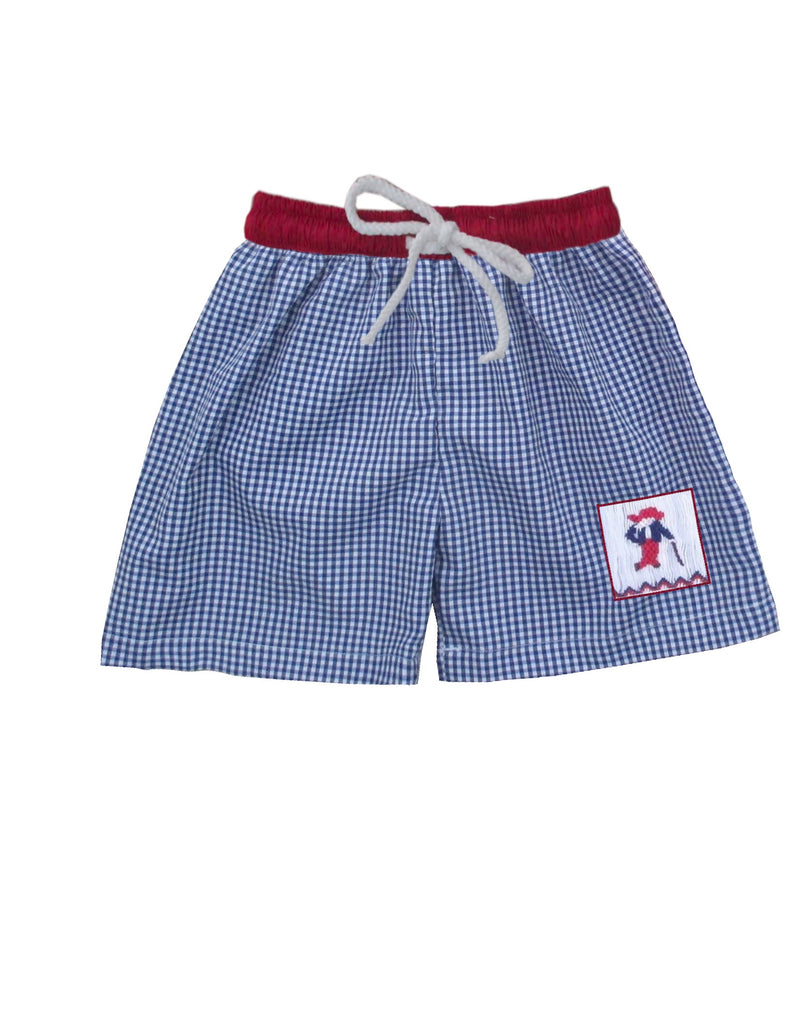 Navy and Red Colonel Boys Swim Trunks