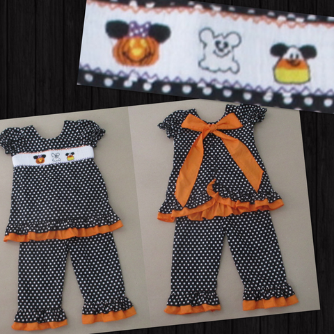 Not So Scary Halloween Mouse Smocked Pant Set