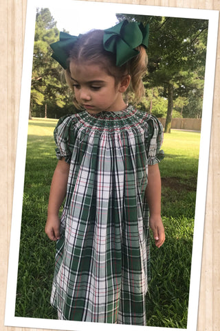 Christmas Plaid Geometric  Smocked Bishop - PRE SALE SHIPPING END OF OCTOBER