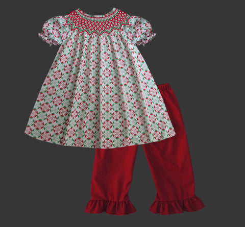 Christmas Circle Geometric Red and Green Smocked Pant Set  PRE SALE SHIPS BEGINNING OF NOVEMBER