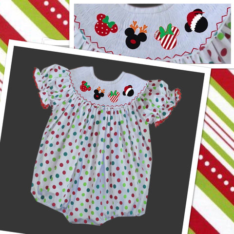 Mouse Christmas Head Smocked Bubble- PRE SALE SHIP BY BEGINNING OF NOVEMBER