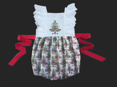 Christmas Tree Embroidered Lace Smocked Bubble - PRE SALE SHIP BY BEGINNING OF NOVEMBER