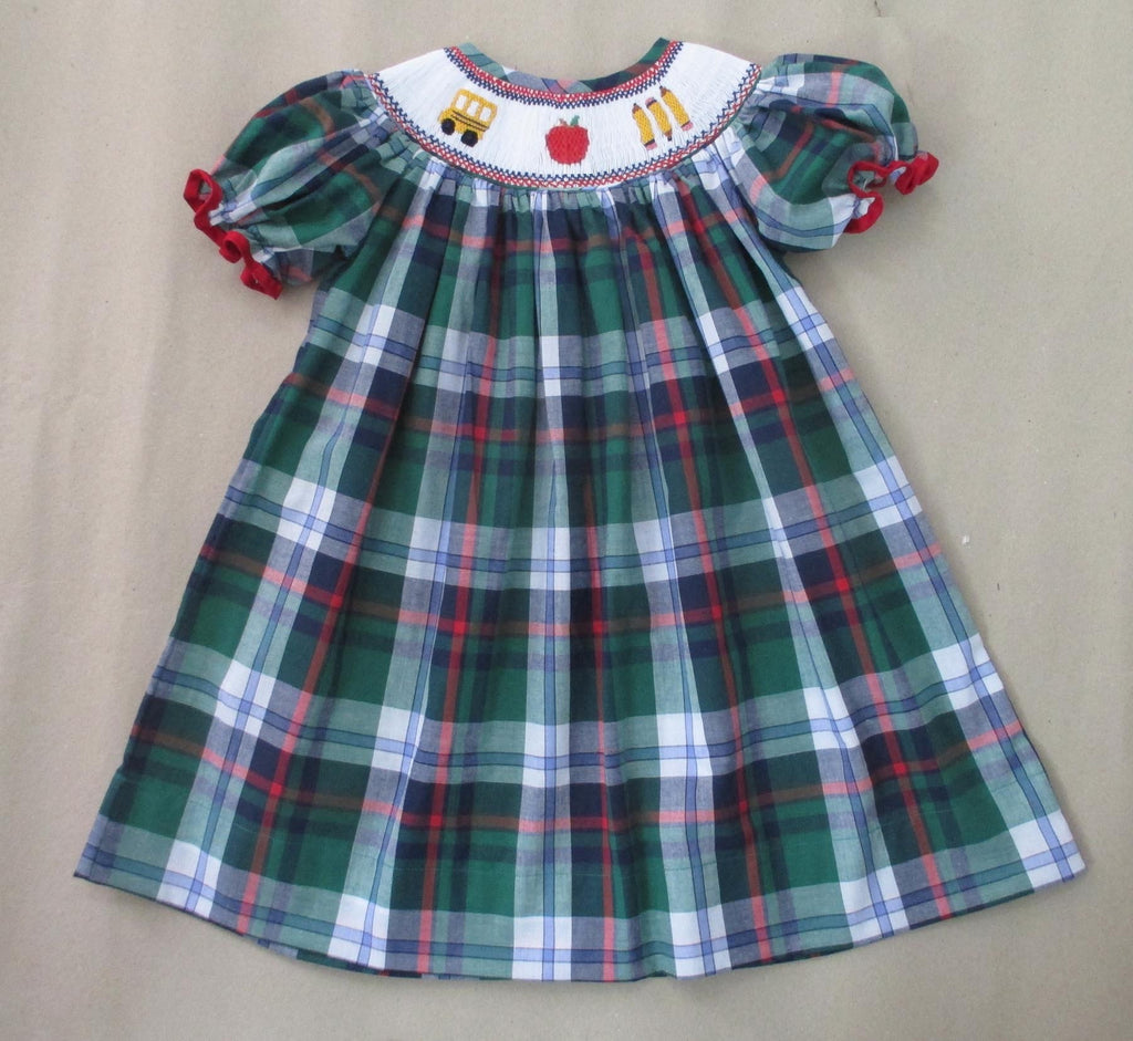Bus and Apple Plaid Girls Smocked Bishop 17