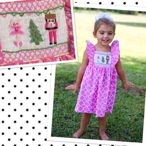 Pink Nutcracker Short Sleeve Tie Back Dress - PRESALE SHIPS BEGINNING OF NOVEMBER