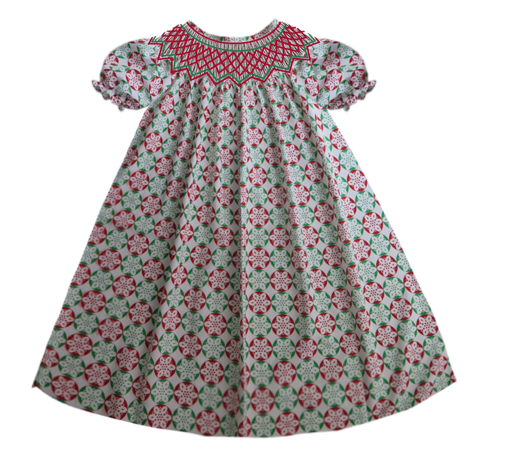 Christmas Circle Geometric Red and Green Smocked Dress Ready To Ship