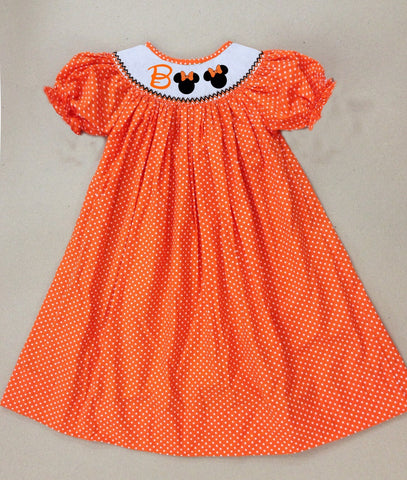 BOO Orange Smocked Dress