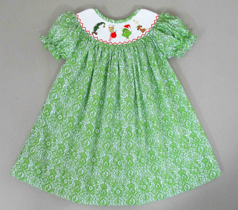 Grinch Smocked Dress - Ready to Ship