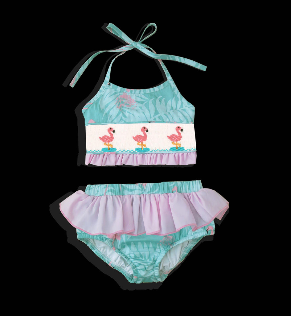 Flamingo Smocked Gils Two Piece Swim Suit