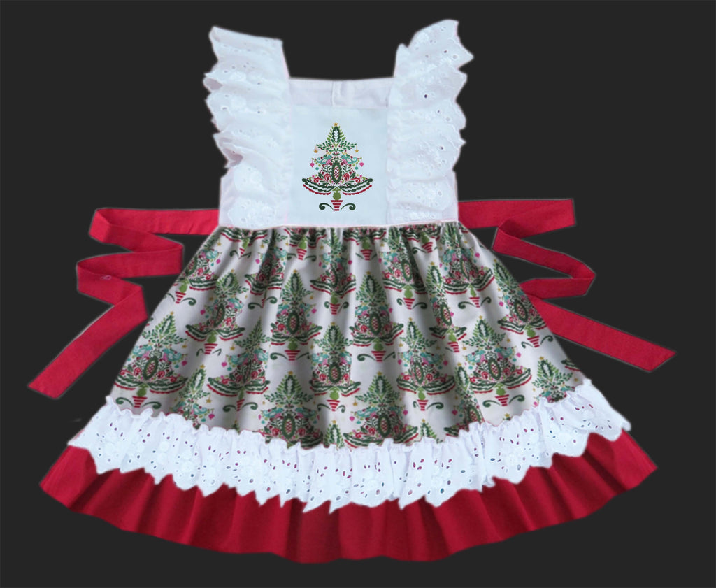 Christmas Tree Lace Embroidered Dress - Ready to Ship