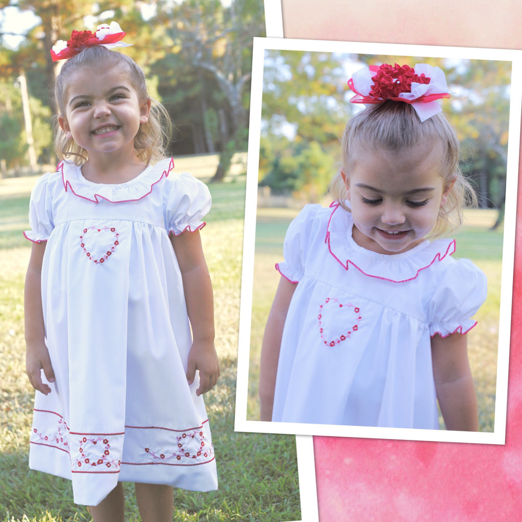 White Embroidered Heart Dress - PRE SALE SHIPPING  JANUARY