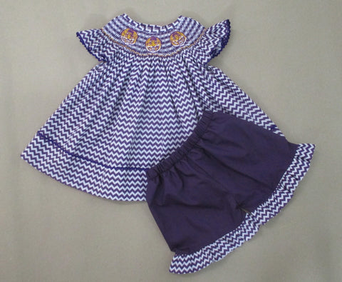 Purple Tiger Smocked Short Set