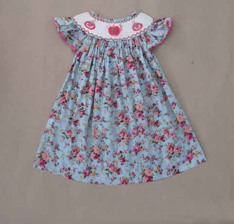 Tea Party Floral Smocked Dress