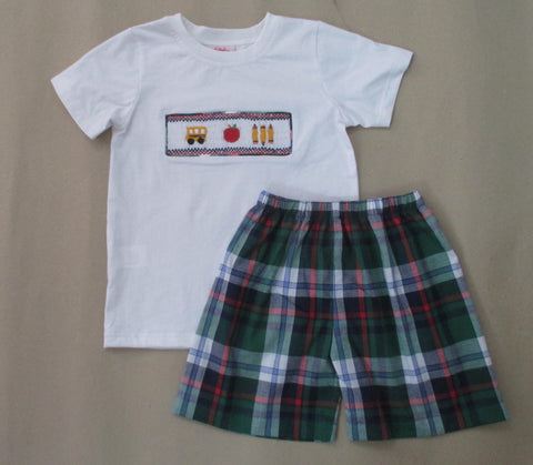 Bus and Apple Plaid Boys Smocked Short Set