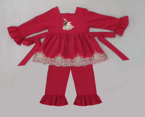 Winter Swan Red Lace Pant Set  - PRESALE SHIPPING BY END OF OCTOBER
