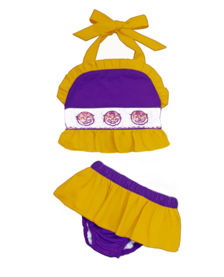 Purple & Gold Tiger Two PIece Swim Suit