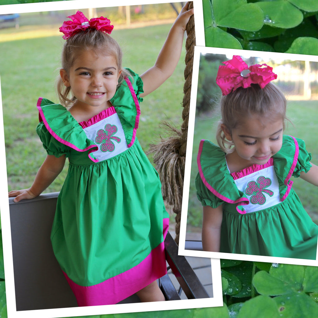 Green and Pink Shamrock Tie Back Dress