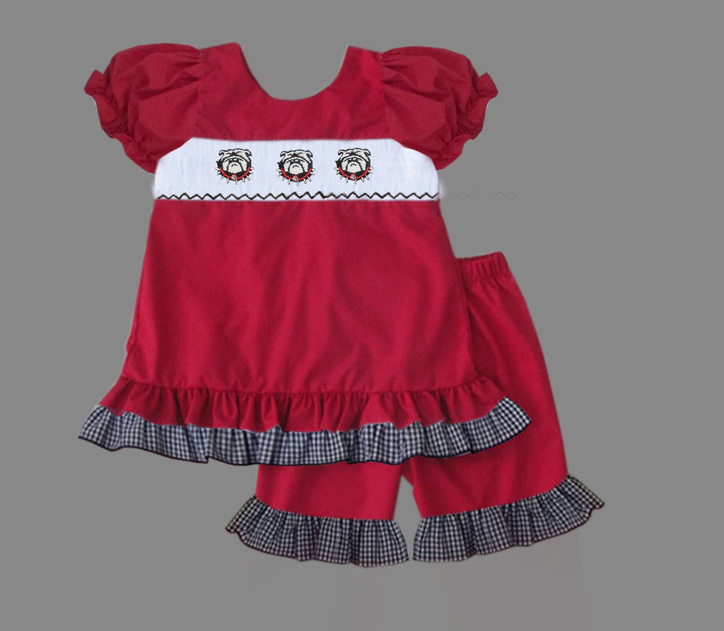 Red and Black Bulldog Tie Back Smocked Short Set