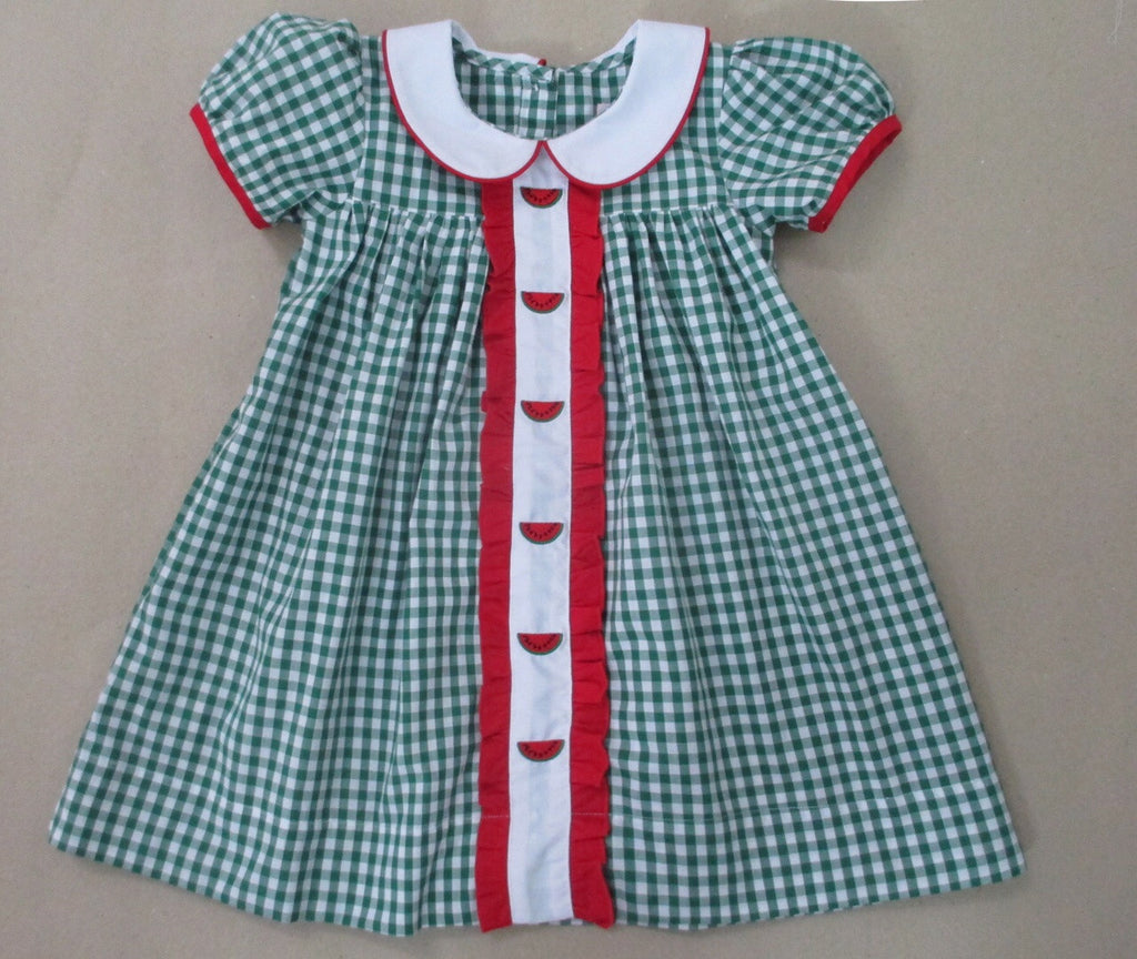 Watermelon Ruffle Front Embroydered Dress