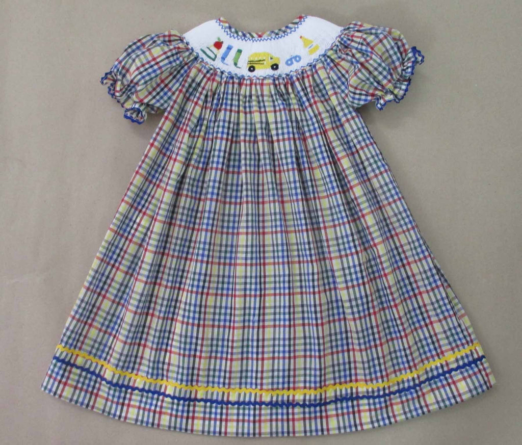 Apple and Book and Scissors Plaid Girls Smocked Bishop