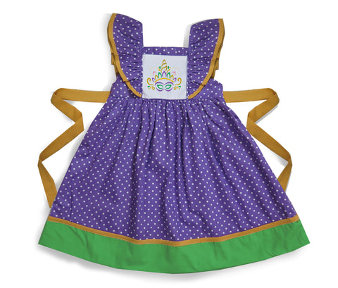 Mardi Gras Unicorn Embroidered Dress