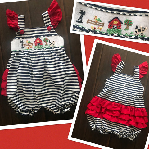 Navy Sleeveless Summer Farm Smocked Bubble