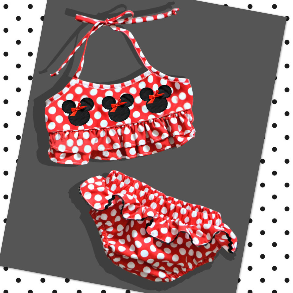 Red Mouse Two Piece Swim Suit -Ready to Ship