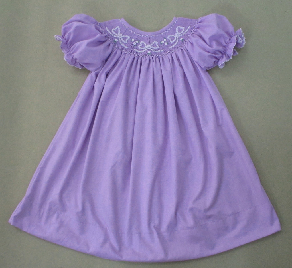 Purple Bow Smocked Dress