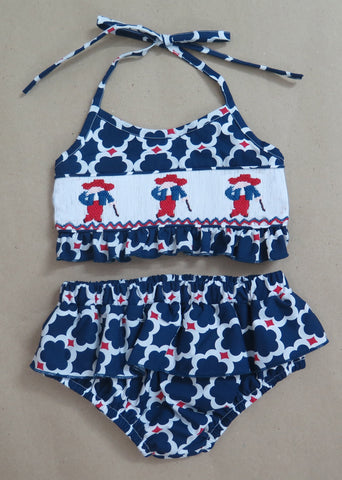 Navy and Red Colonel Two Piece Swim