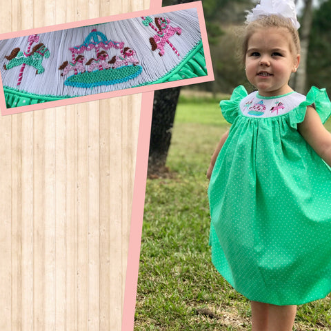 Mint Dot Carousel Angel Sleeve Smocked Dress