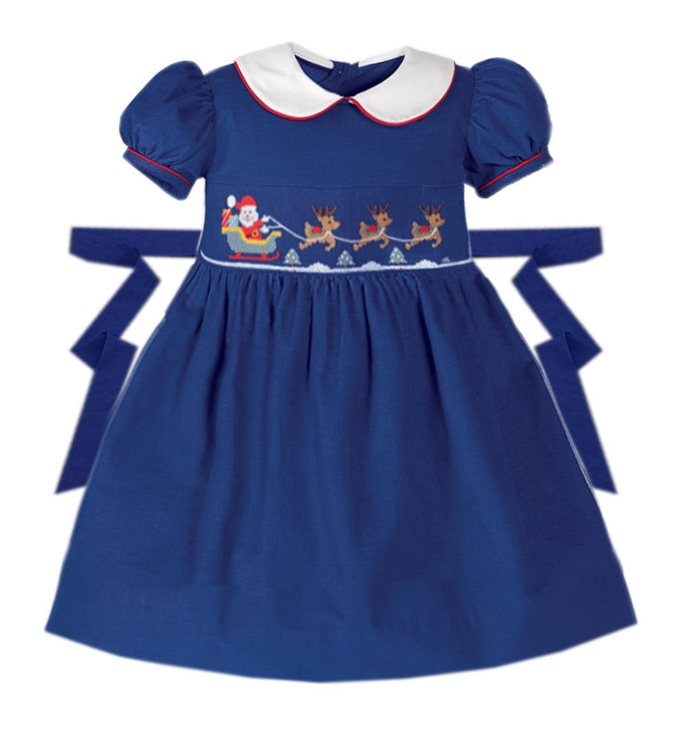 Santa Sleigh Smocked Dress - Ready to Ship