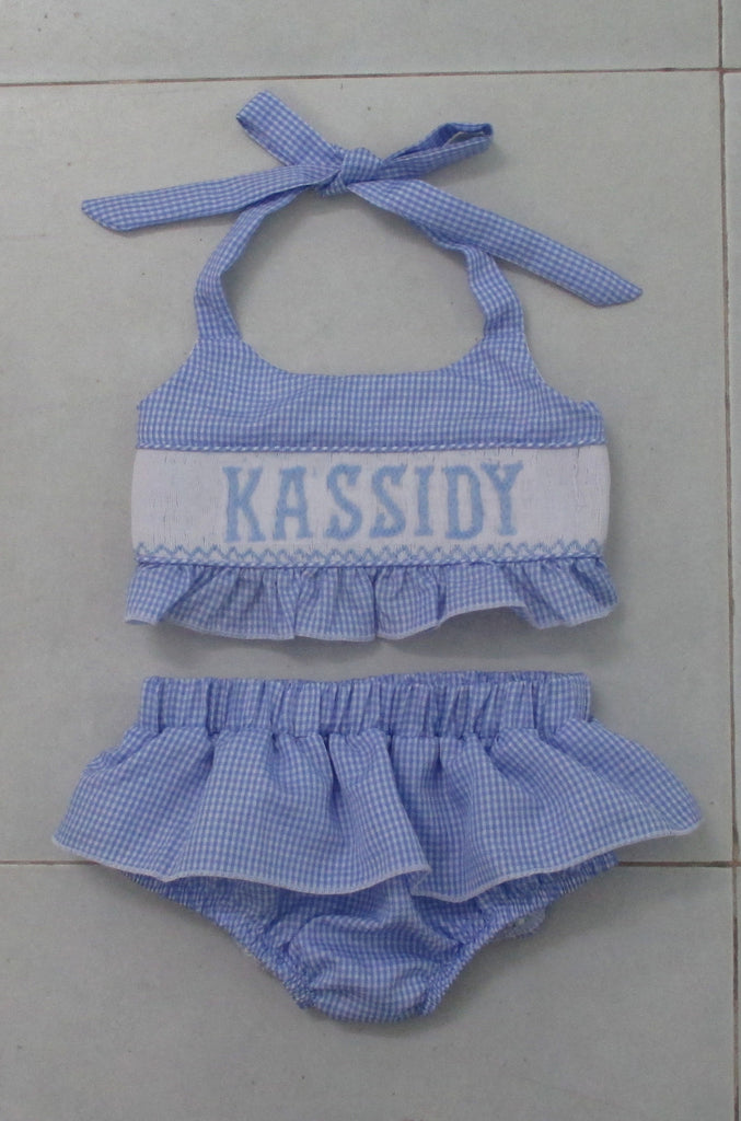 Personalized Blue Check Two Piece Swim Suit - PRE SALE SHIPS 14 WKS