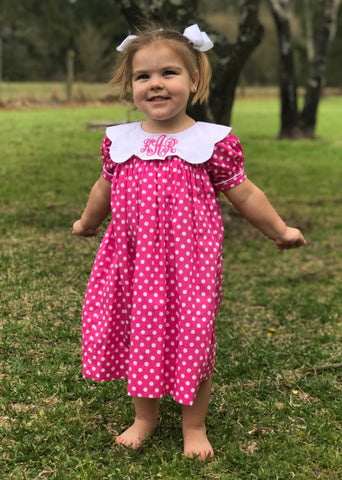 Pink & White Dot Scalloped Blank Dress