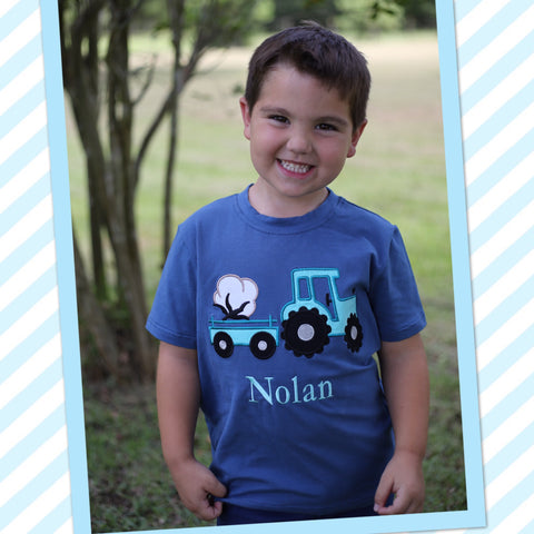 Blue Cotton Tractor Applique Tee