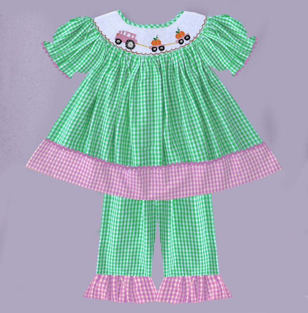 Pumpkin Tractor Check Smocked Pant Set